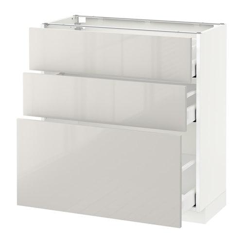 metod maximera l ment bas 3 tiroirs blanc ringhult brillant gris clair 80x37 cm ikea. Black Bedroom Furniture Sets. Home Design Ideas