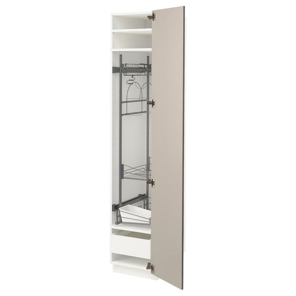 METOD / MAXIMERA Élément haut + rangements prod entr, blanc/Stensund beige, 40x60x200 cm