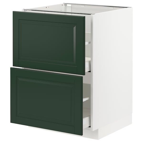 METOD / MAXIMERA Élt bas 2 faces/2 tiroirs hauts, blanc/Bodbyn vert foncé, 60x60 cm