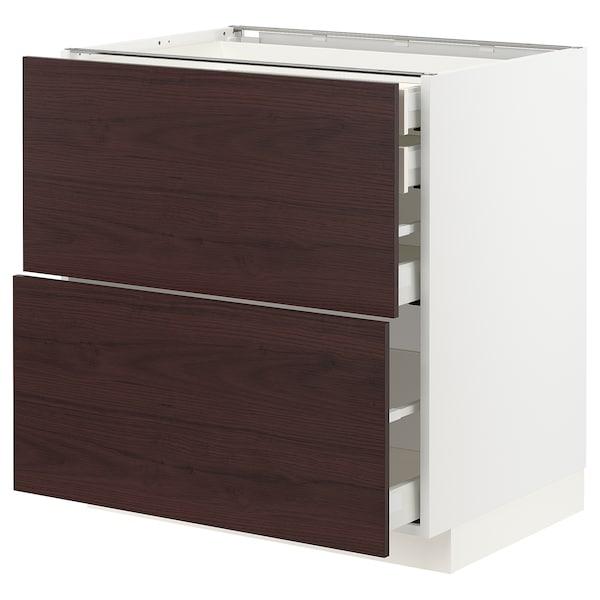 METOD / MAXIMERA Élt bas 2faces/2tir bas+1moy+1haut, blanc Askersund/brun foncé décor frêne, 80x60 cm