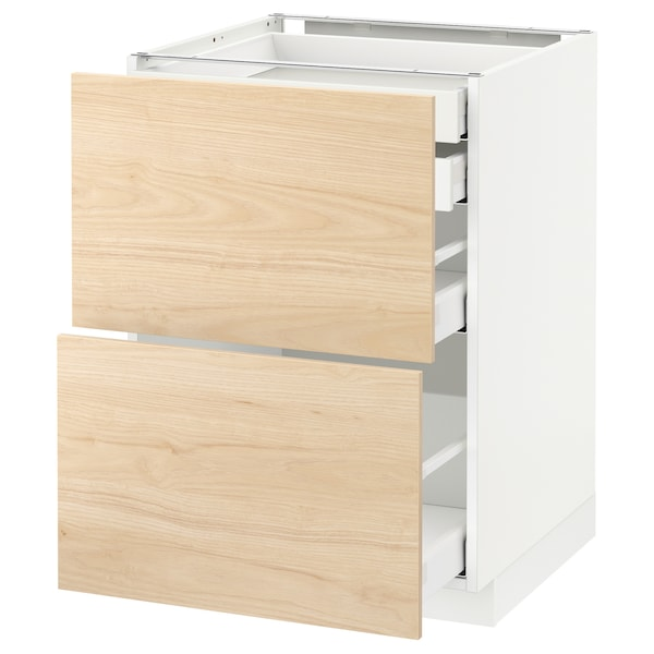 METOD / MAXIMERA Élt bas 2faces/2tir bas+1moy+1haut, blanc/Askersund effet frêne clair, 60x60 cm