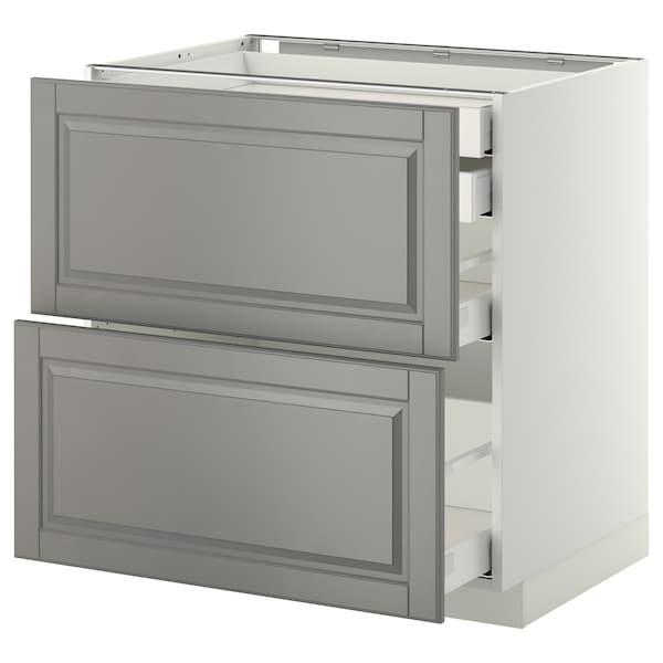 METOD / MAXIMERA Élt bas 2faces/2tir bas+1moy+1haut, blanc/Bodbyn gris, 80x60 cm