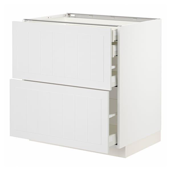 METOD / MAXIMERA Élt bas 2faces/2tir bas+1moy+1haut, blanc/Stensund blanc, 80x60 cm