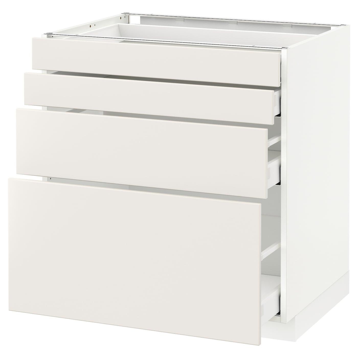 METOD / MAXIMERA Élt bas 15 faces/15 tiroirs - blanc/Veddinge blanc 15x15 cm