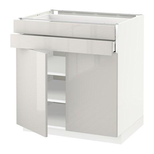 metod maximera lt bas 2 portes 2 tiroirs blanc ringhult brillant gris clair 80x60 cm ikea. Black Bedroom Furniture Sets. Home Design Ideas