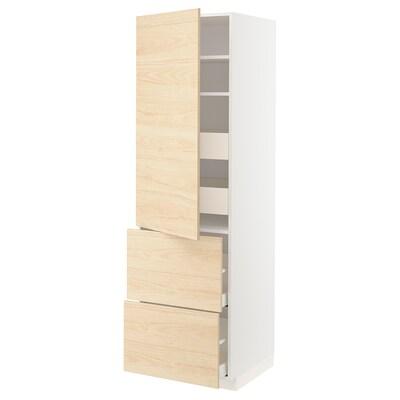 METOD / MAXIMERA Élt haut+tablettes/4tir/pte/2faces, blanc/Askersund effet frêne clair, 60x60x200 cm