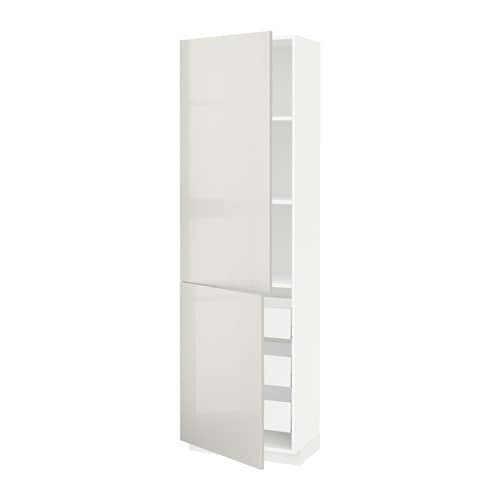 metod maximera lt haut tablettes 3tiroirs 2portes blanc ringhult brillant gris clair. Black Bedroom Furniture Sets. Home Design Ideas
