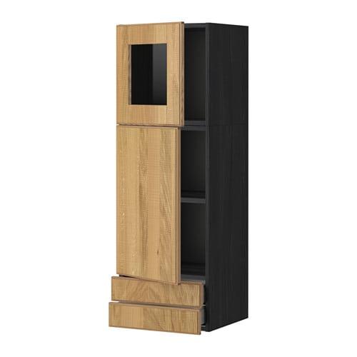 Metod maximera lt mur porte pte vitr e 2tiroirs effet for Porte bois noir