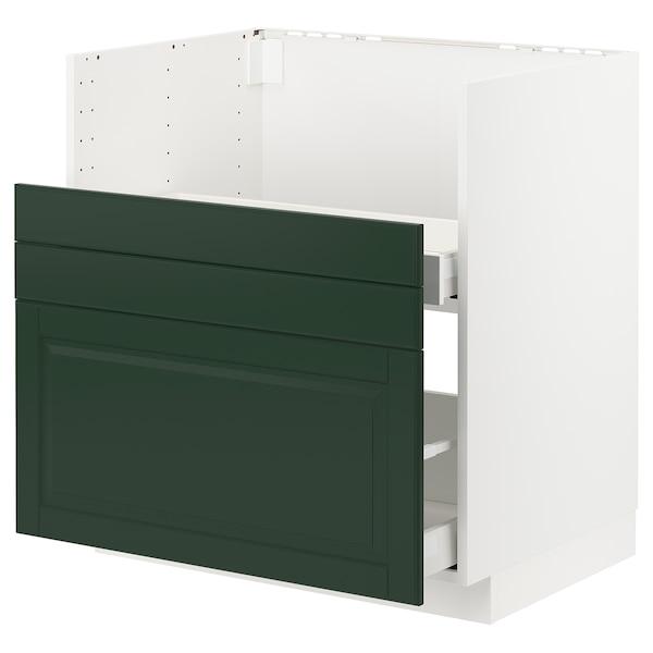 METOD / MAXIMERA Rangement bas évier BREDSJÖN/2fa/2t, blanc/Bodbyn vert foncé, 80x60 cm