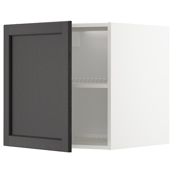 METOD Surmeuble réfr/cong, blanc/Lerhyttan teinté noir, 60x60 cm