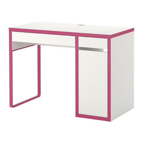 Micke bureau blanc rose ikea for Bureau ikea blanc