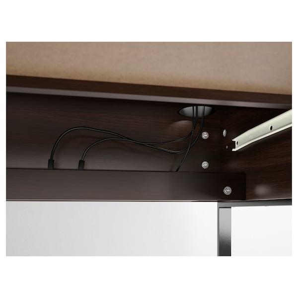 MICKE Bureau, brun noir, 73x50 cm