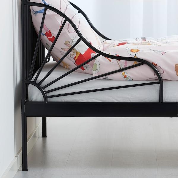 MINNEN Struct lit ext av sommier à lattes, noir, 80x200 cm
