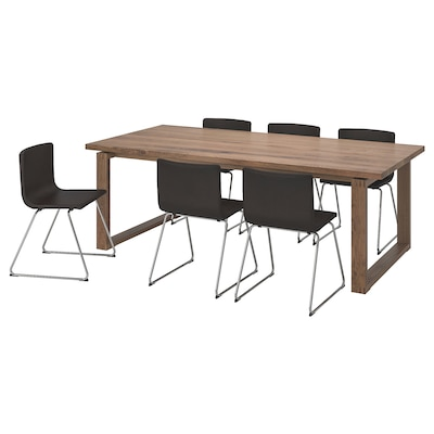 MÖRBYLÅNGA / BERNHARD Table et 6 chaises, brun/Kavat brun foncé, 220x100 cm