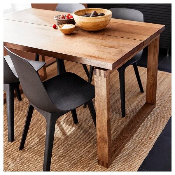 MÖRBYLÅNGA / ODGER Table et 4 chaises, plaqué chêne teinté brun/anthracite, 140x85 cm