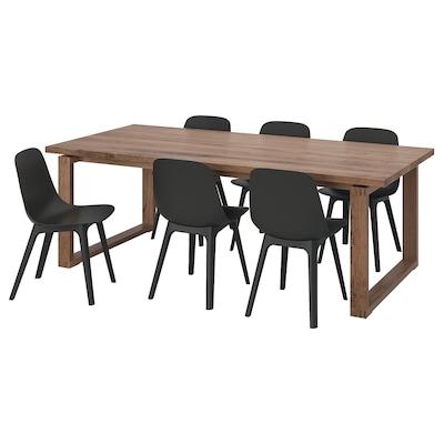 MÖRBYLÅNGA / ODGER Table et 6 chaises, plaqué chêne/anthracite, 220x100 cm