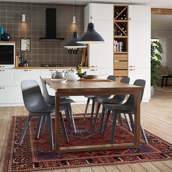 MÖRBYLÅNGA Table, plaqué chêne teinté brun, 220x100 cm