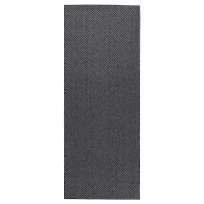 MORUM Tapis tissé à plat, int/extérieur, gris foncé, 80x200 cm