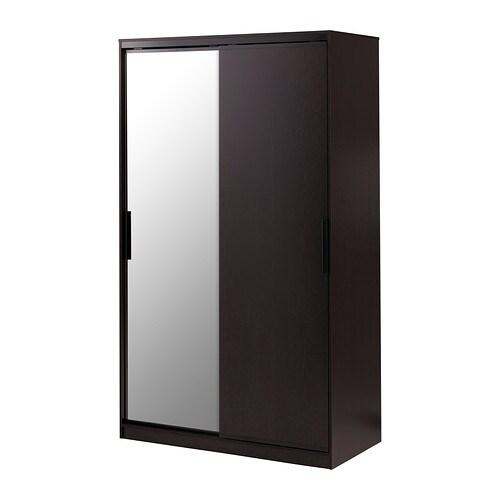Morvik armoire penderie brun noir miroir ikea for Miroir noir ikea