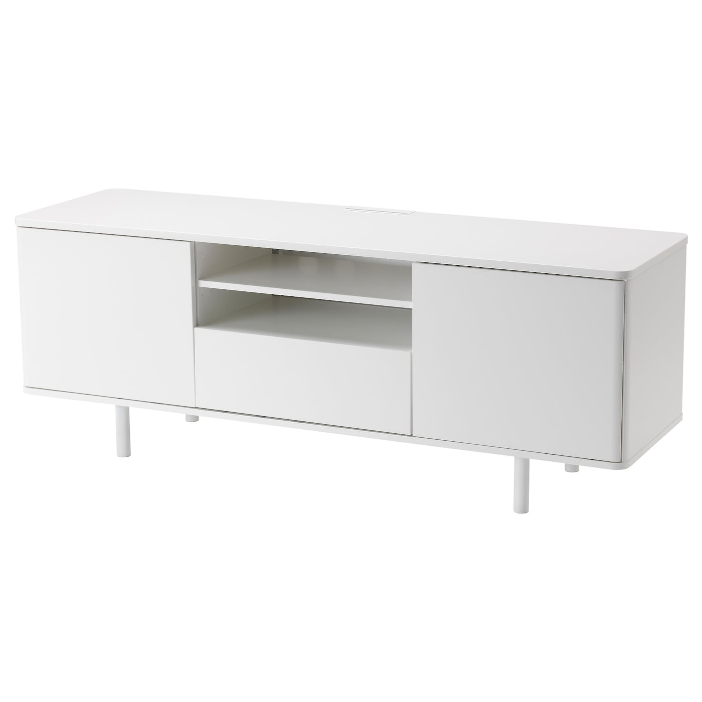 Mostorp Banc Tv Brillant Blanc 159×46 Cm Ikea # Meuble Tv Ikea Bous Blanc