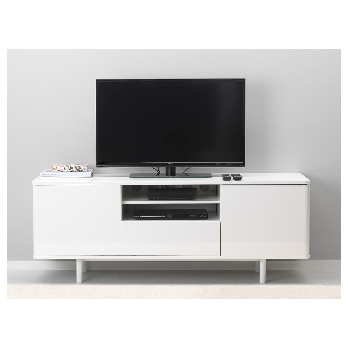 Mostorp Banc Tv Brillant Blanc 159×46 Cm Ikea # Meuble Tv Pivotant Ikea
