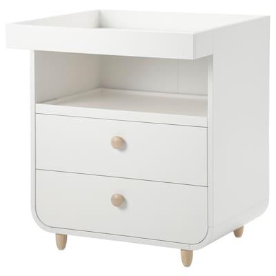 MYLLRA Table à langer+tiroirs, blanc
