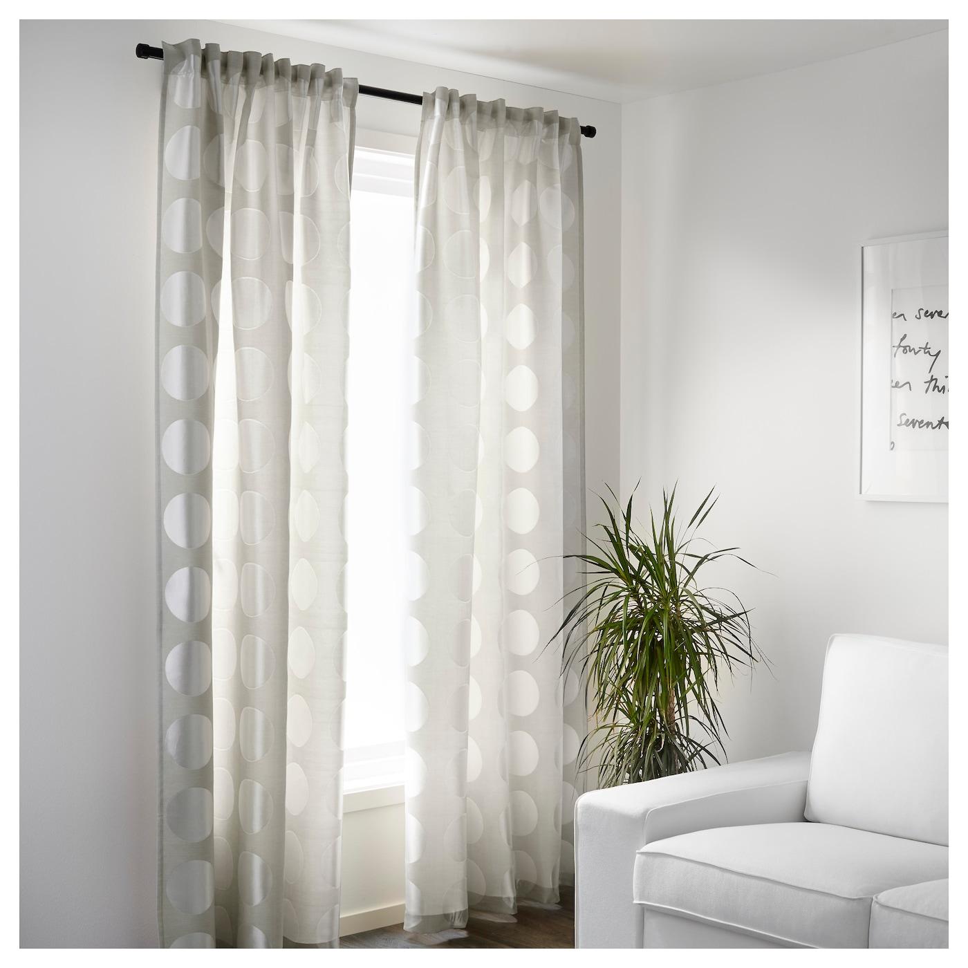 ninni rund rideaux 1 paire beige clair 145x300 cm ikea. Black Bedroom Furniture Sets. Home Design Ideas