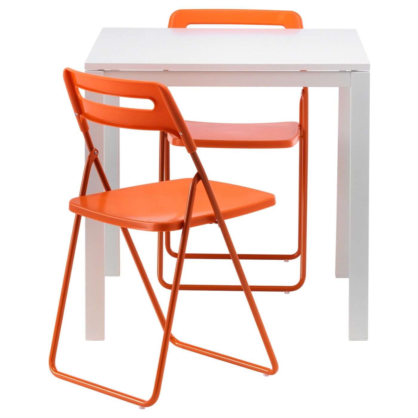 nisse melltorp table 2 chaises pliantes blanc orange 75 cm ikea. Black Bedroom Furniture Sets. Home Design Ideas