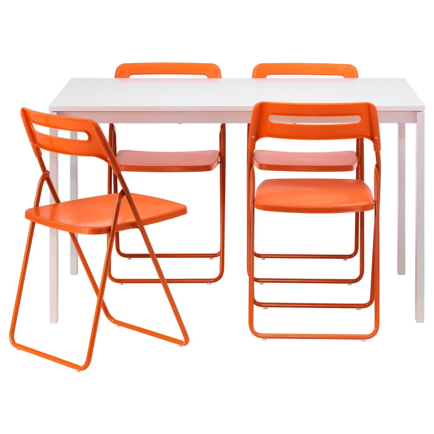 nisse melltorp table et 4 chaises blanc orange 125 cm ikea. Black Bedroom Furniture Sets. Home Design Ideas