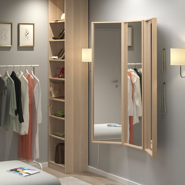 NISSEDAL Miroir, effet chêne blanchi, 40x150 cm