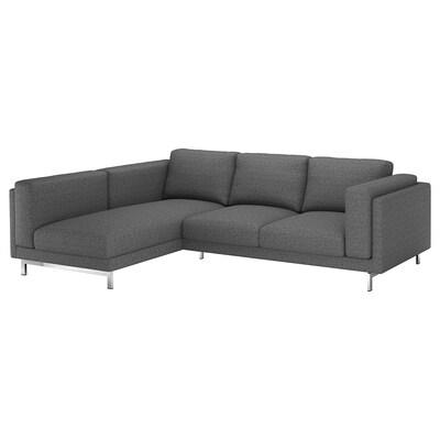 NOCKEBY Canapé 3 places, avec méridienne, gauche/Lejde gris foncé/chromé