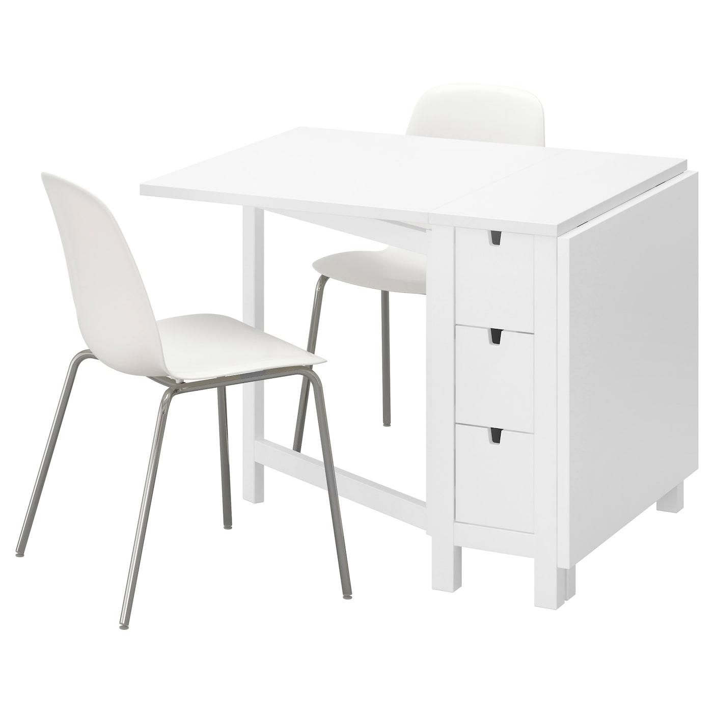 norden leifarne table et 2 chaises blanc blanc chrom 89 cm ikea. Black Bedroom Furniture Sets. Home Design Ideas
