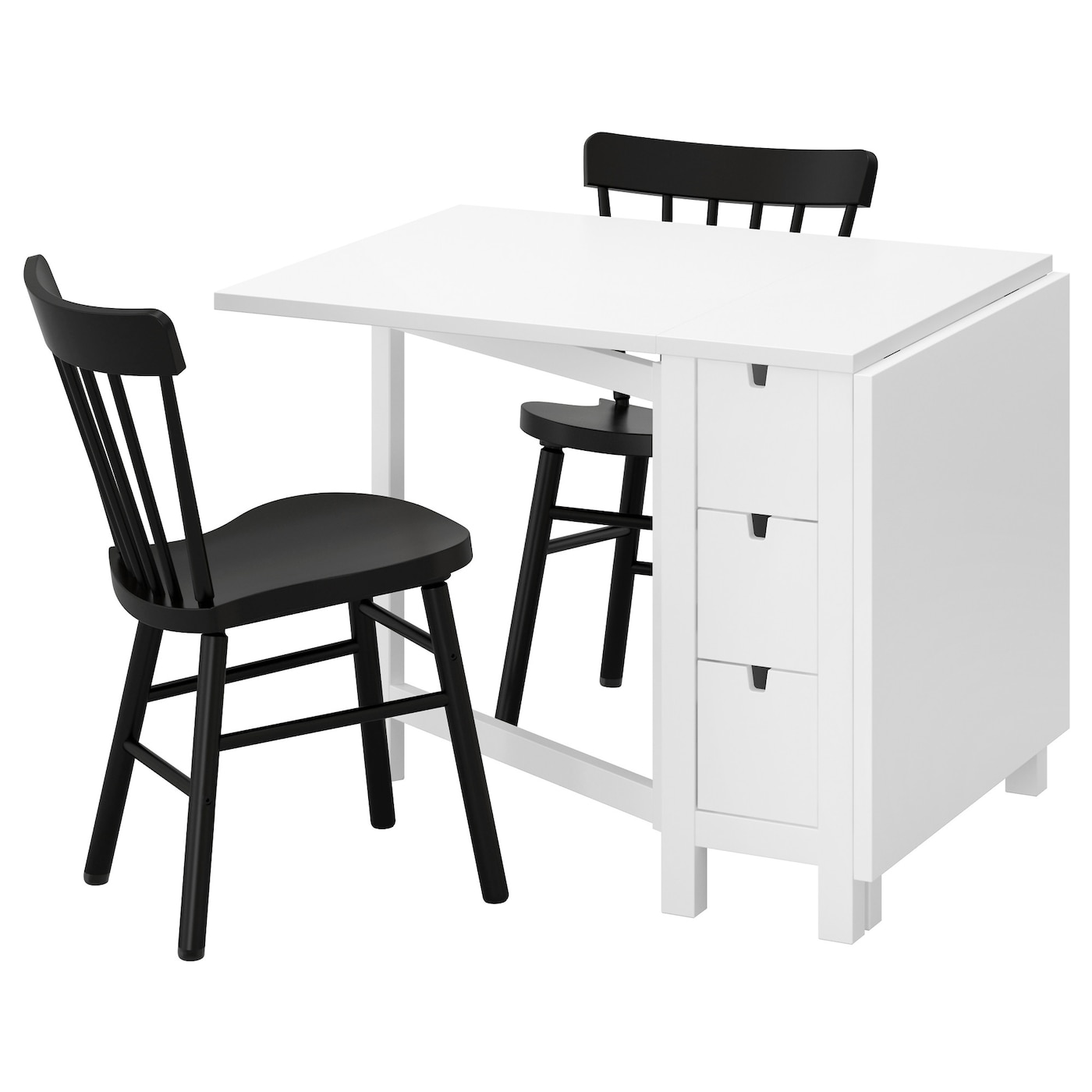 norden norraryd table et 2 chaises blanc noir 89 cm ikea. Black Bedroom Furniture Sets. Home Design Ideas
