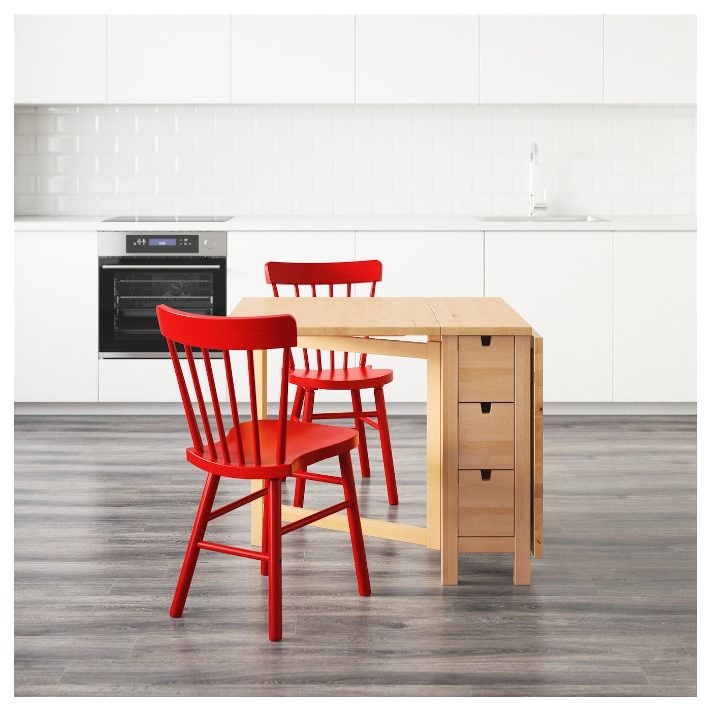 norden norraryd table et 2 chaises bouleau rouge 89 cm ikea. Black Bedroom Furniture Sets. Home Design Ideas