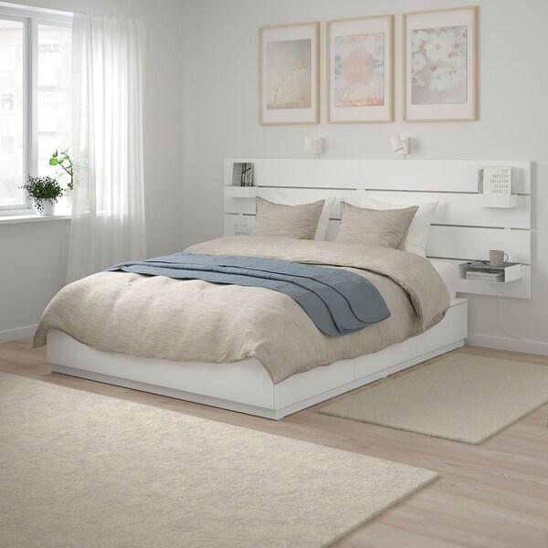NORDLI Cadre de lit+rangement/tête de lit, blanc, 180x200 cm