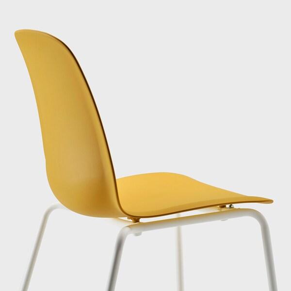 NORDVIKEN / LEIFARNE Table et 2 chaises, blanc/Broringe jaune foncé, 74/104x74 cm