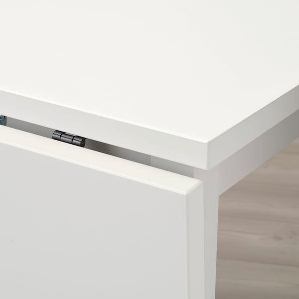 NORDVIKEN Table à rabat, blanc, 74/104x74 cm