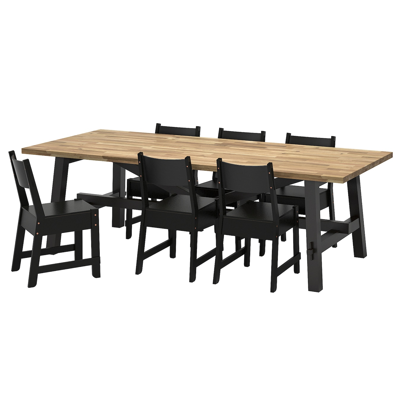 norr ker skogsta table et 6 chaises acacia noir 235x100 cm. Black Bedroom Furniture Sets. Home Design Ideas