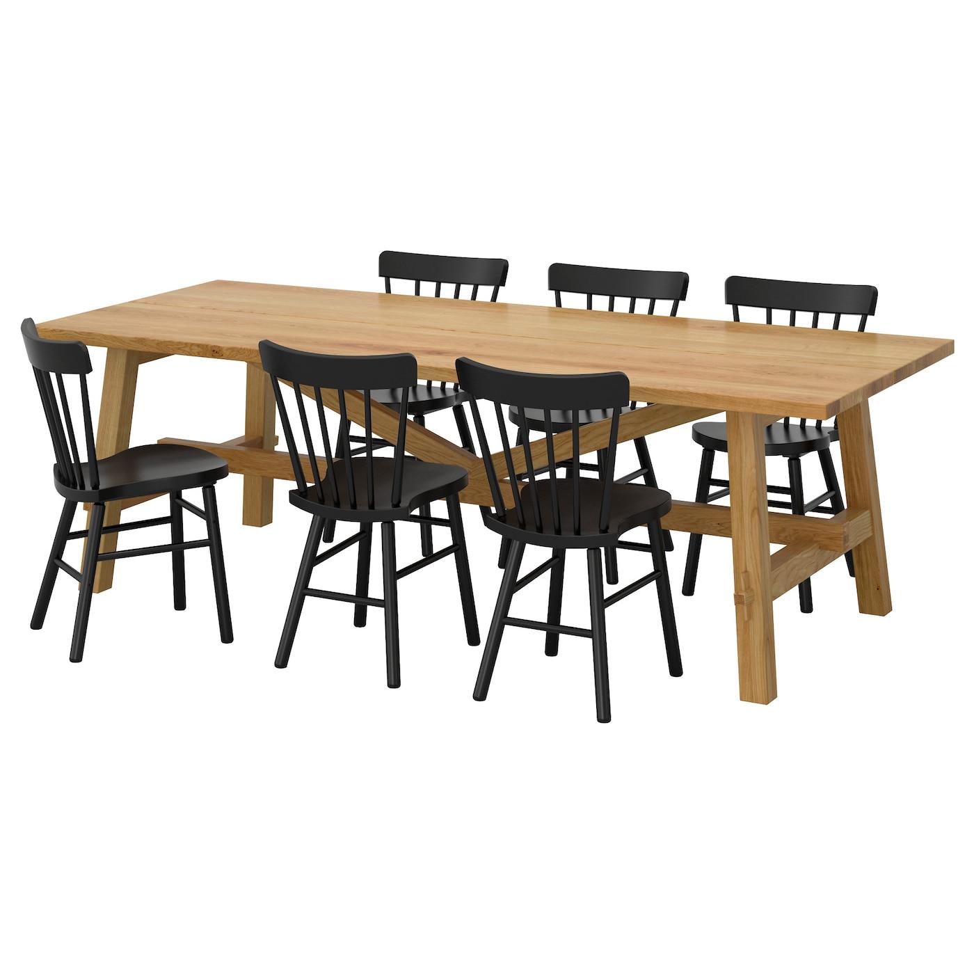 Norraryd m ckelby table et 6 chaises ch ne noir 235x100 cm for Table 6 chaises ikea