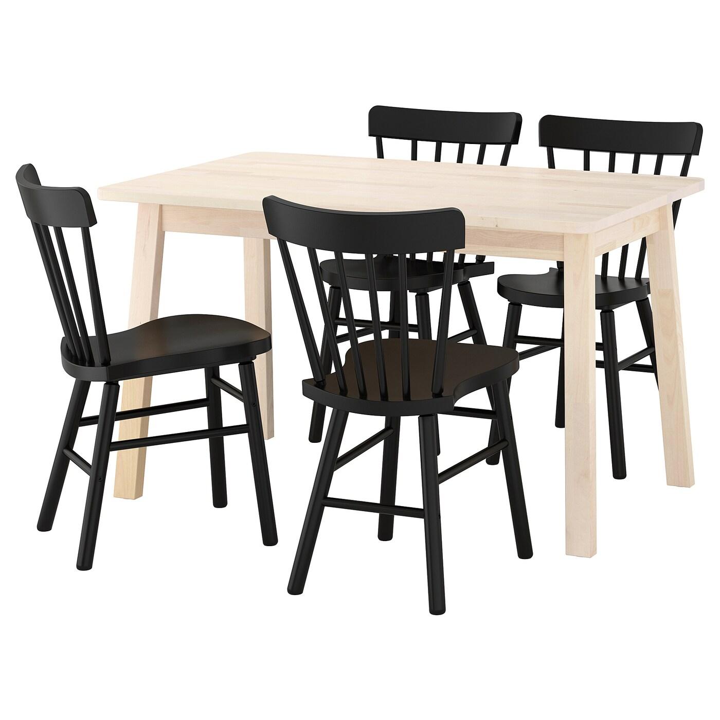 NORRARYD/NORRÅKER Table et 4 chaises Blanc bouleau/noir 125 cm - IKEA