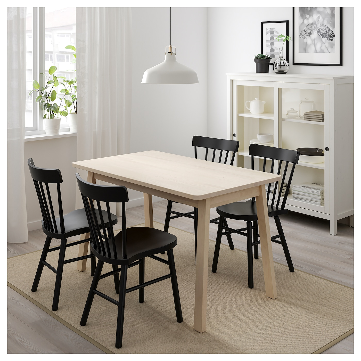 norraryd norr ker table et 4 chaises blanc bouleau noir 125 cm ikea. Black Bedroom Furniture Sets. Home Design Ideas
