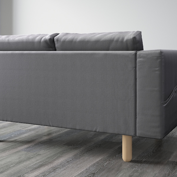 NORSBORG canapé 3 places avec méridienne/Finnsta gris foncé/bouleau 231 cm 85 cm 88 cm 157 cm 129 cm 18 cm 60 cm 43 cm