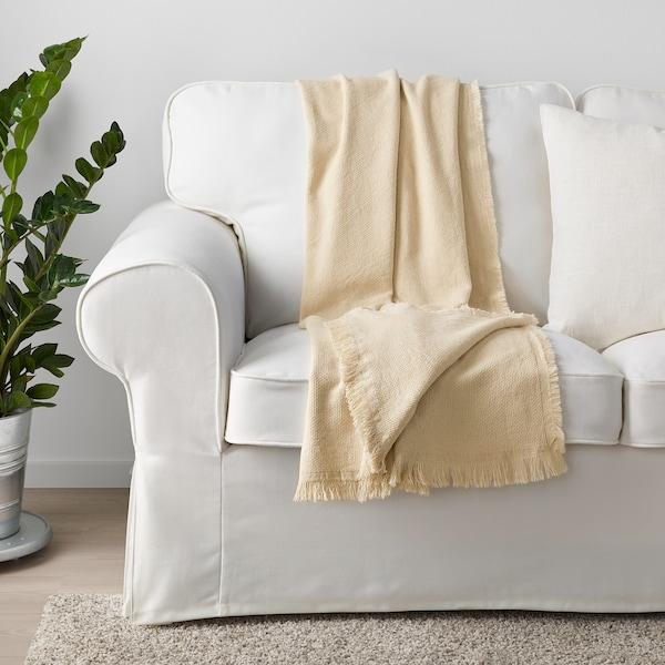 ODDRUN Plaid, écru/beige, 130x170 cm