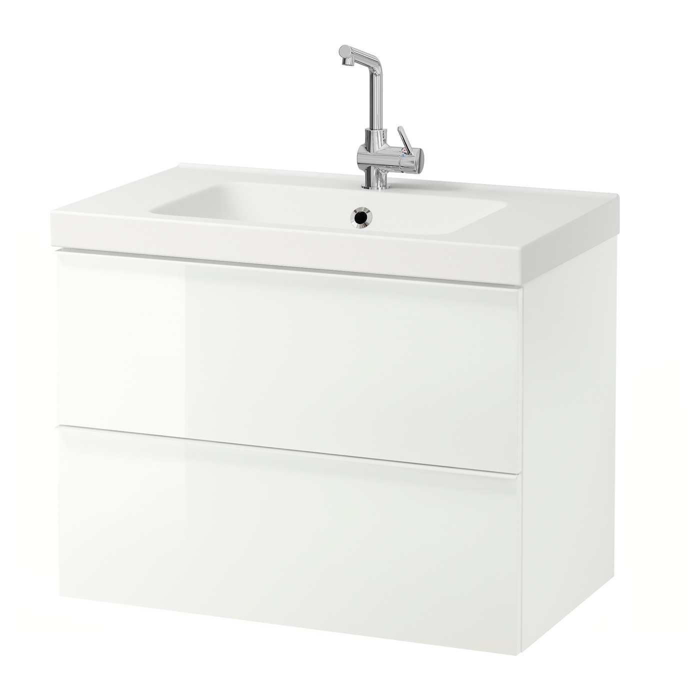 Odensvik godmorgon meuble lavabo 2tir brillant blanc for Meuble blanc ikea