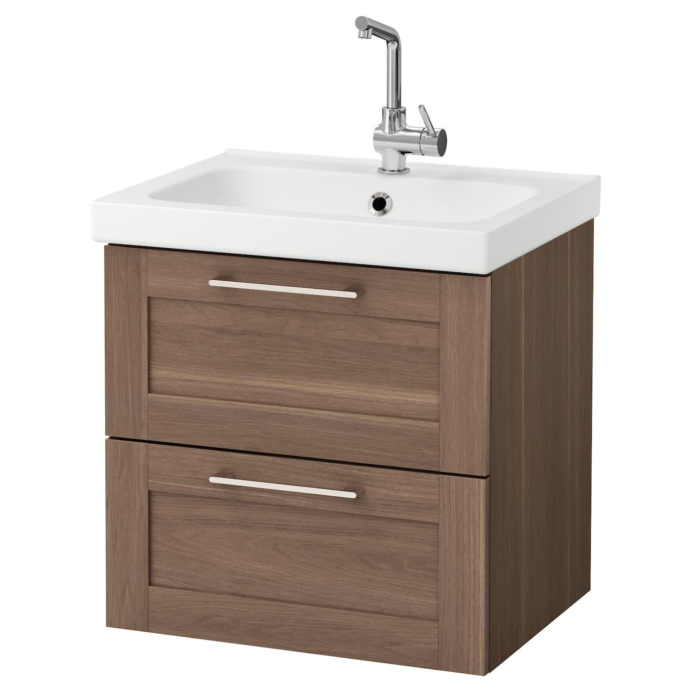 Odensvik godmorgon meuble lavabo 2tir motif noyer 63x49x64 for Lavabo plus meuble