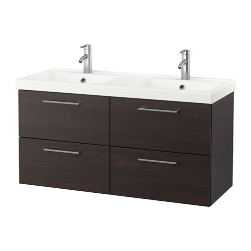 odensvik godmorgon meuble lavabo 4tir brun noir 123 x 49 x 64 cm ikea. Black Bedroom Furniture Sets. Home Design Ideas