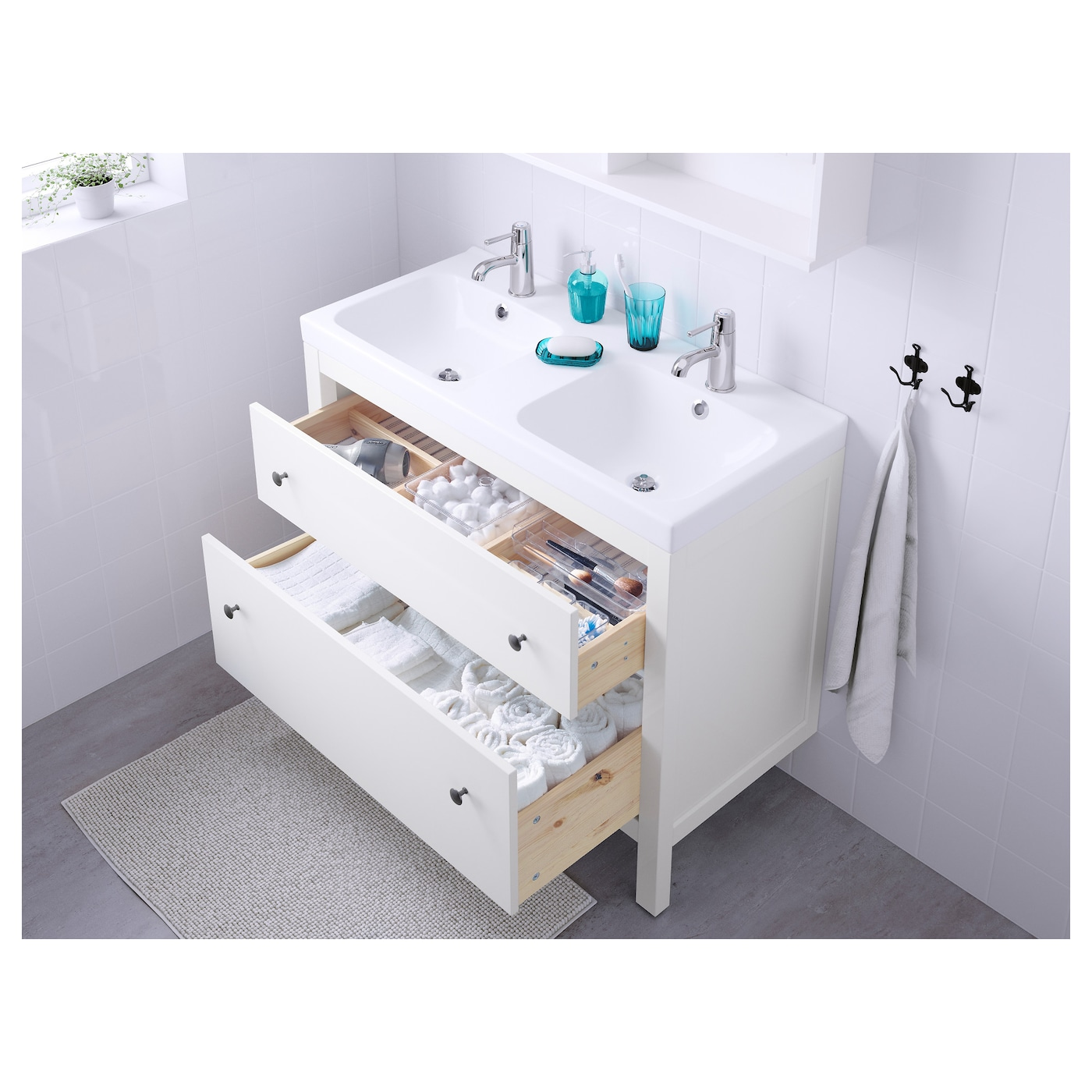 odensvik hemnes meuble lavabo 2tir blanc 103 x 49 x 89 cm ikea. Black Bedroom Furniture Sets. Home Design Ideas