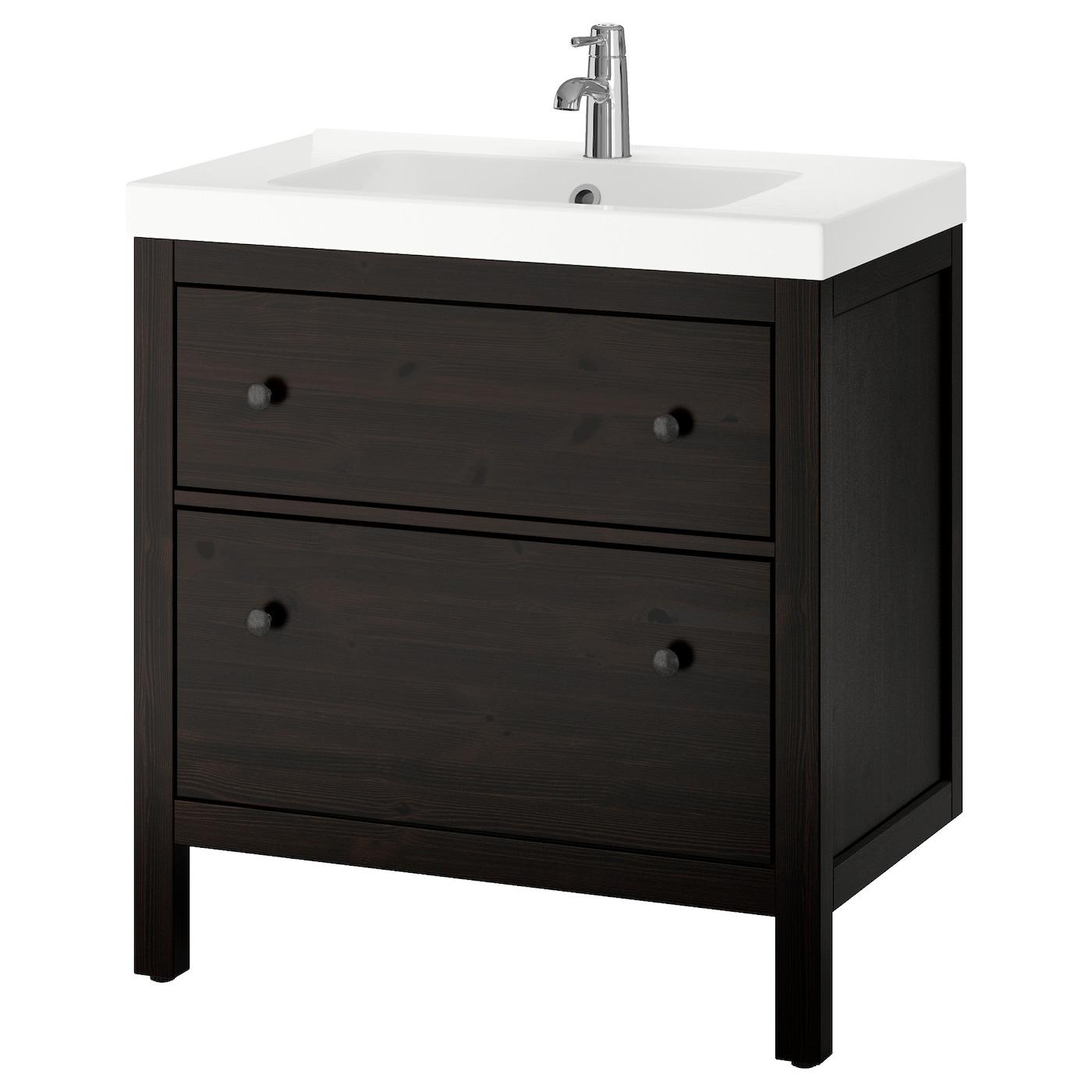 Odensvik hemnes meuble lavabo 2tir teinture noir brun for Meuble noir ikea