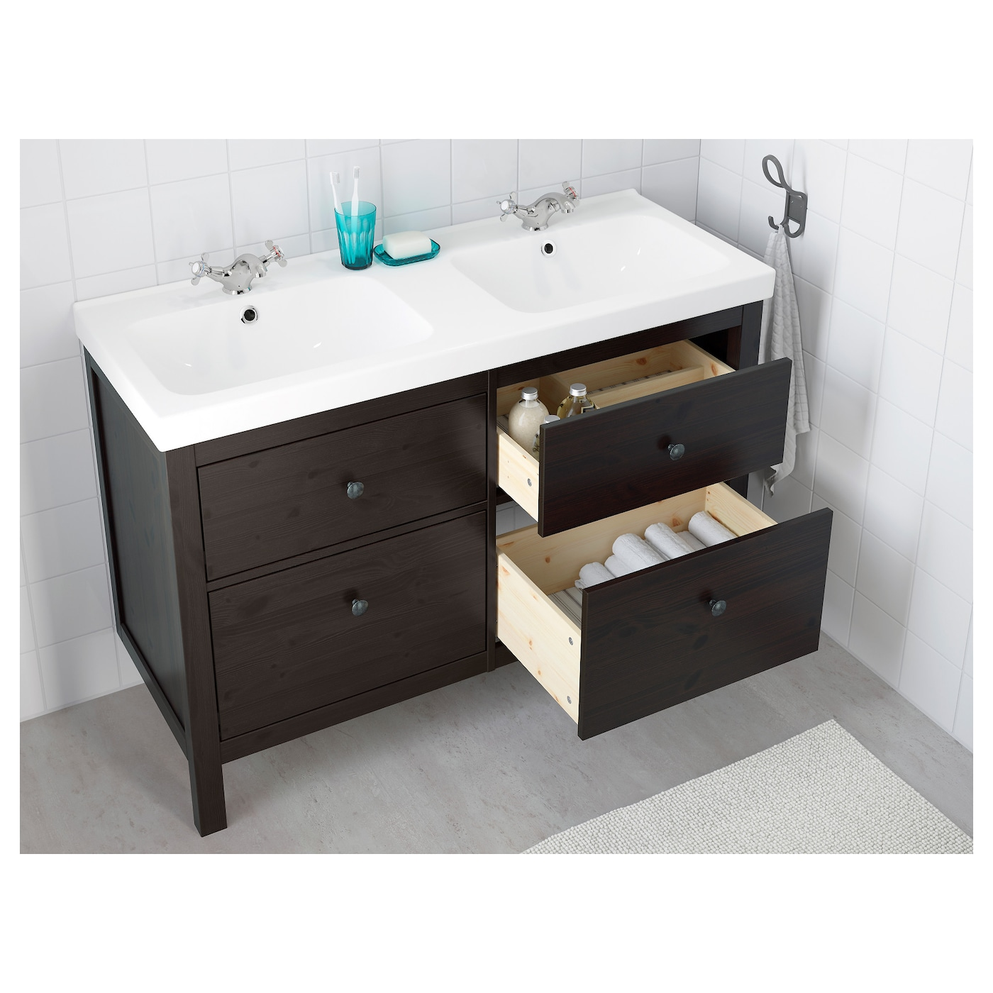 odensvik hemnes meuble lavabo 4tir teinture noir brun 120x49x89 cm ikea. Black Bedroom Furniture Sets. Home Design Ideas