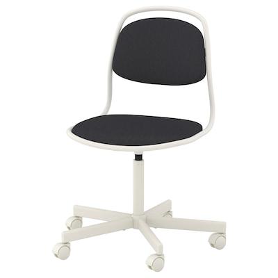 ÖRFJÄLL Chaise pivotante, blanc/Vissle gris foncé